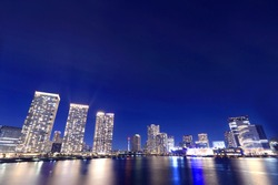 Night view of Toyosu, Harumi, Tokyo, which is attracting attention as a bay area