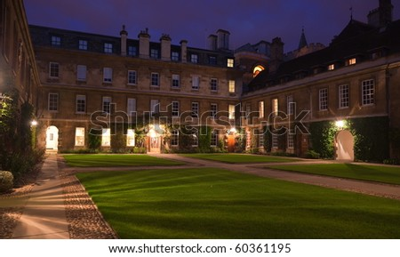 Night view of Trinity Hall College. Cambridge. UK. - stock photo