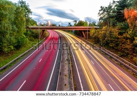 Night View of UK Motorway Highway Traffic #734478847