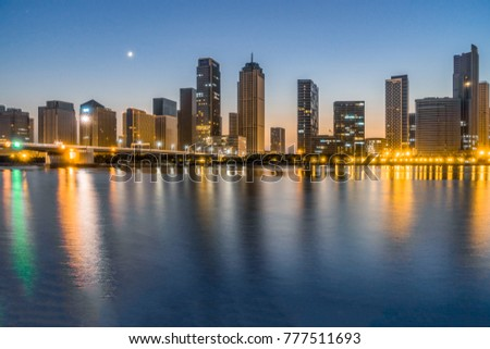 night view of urban skyline and modern buildings cityscape of china