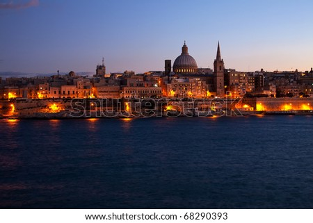 Night view of Valletta from Sliema (Malta)