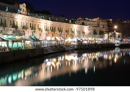 night view of Valletta waterfront and Grand Harbour from the west entrance - Malta