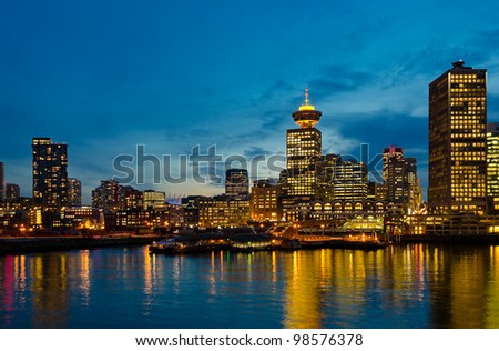 Night view of Vancouver down town. BC , Canada.
