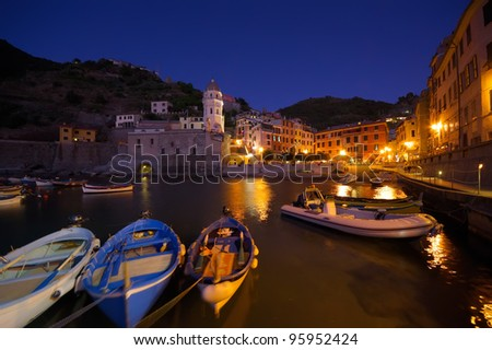 night view of Vernazza fishing village, Cinque Terre, Italy