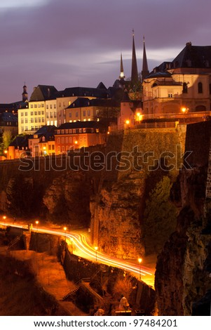 Night view of Ville Haute and city wall, Luxembourg City