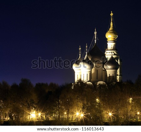 night view of Vologda, a bell tower and the Hagia Sophia at night, domed Cathedral night view #116013643