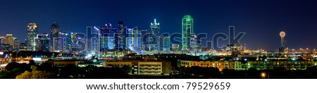 Night View on Beautiful Downtown Dallas Skyline