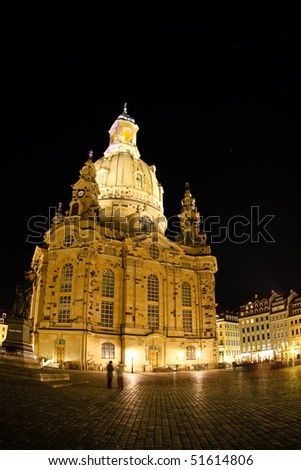 Night view on Dresden Frauenkirche (Church of Our Lady), Germany