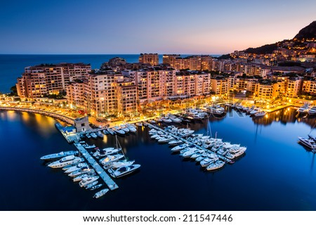 Night view on Fontvieille and Monaco Harbor #211547446