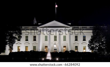 Night view on White House in Washington DC