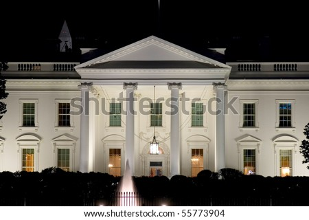 Night view on White house's west side