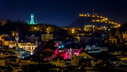 Night view over old Plovdiv, Bulgaria