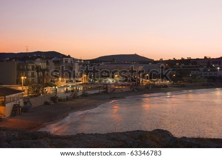 Night view  picture of Port of Hersonissos, Crete Island, Greece
