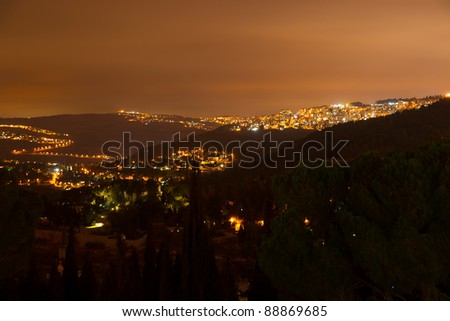 Night view to Jerusalem from Ein Kerem district
