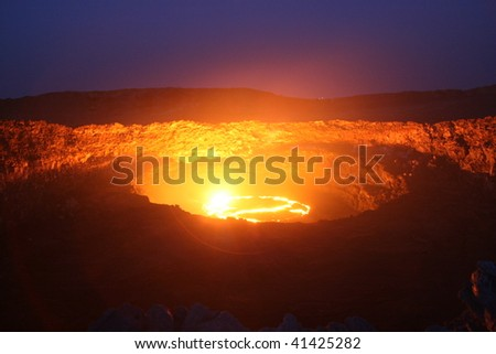 Night view to the  lava lake  of the erta ale volccano in Ethiopia