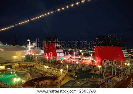 Night view top deck on cruise ships