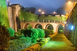 Night view with light and illumination of Castillo de Montjuic on mountain Montjuic in Barcelona, Spain