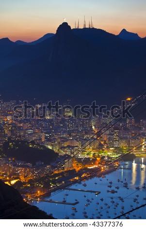Night views of Rio De Janeiro Brazil from Sugar Loaf Mountain