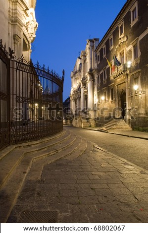 night vision in crociferi street, catania, sicily, italy