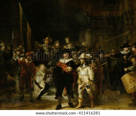 Night Watch, by Rembrandt van Rijn, 1642, Dutch painting, oil on canvas. The painting, originally titled 'Militia Company of District II under the Command of Captain Frans Banninck Cocq and Lieutenan