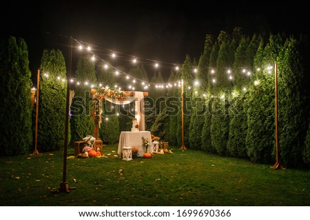 night wedding ceremony, the arch is decorated with flowers, candles and garlands of light bulbs and there is a wedding cake on the table