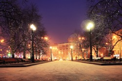 Night winter landscape in amazing city
