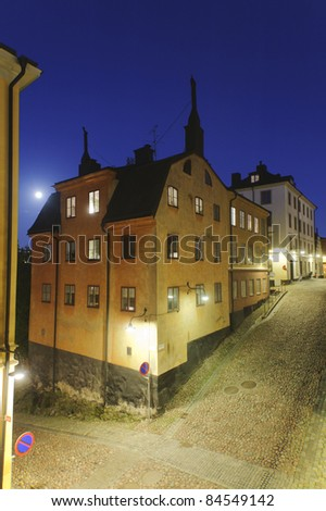 Night with full moon  over old houses in Sodermalm, Stockholm