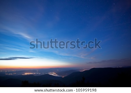 Night with stars and lights,panorama photo from Hungary,on the mountain Pilis