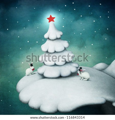 Night with  white Christmas tree and rabbits