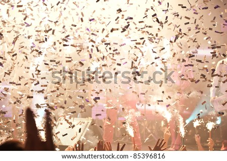 Nightclub lights and confetti party background