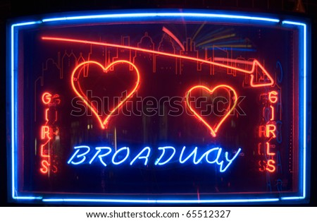Nightclub Neon Sign with Broadway and Girls Text