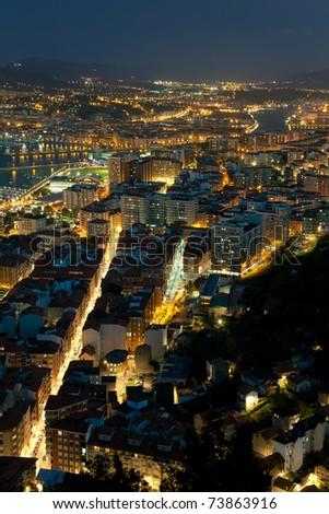 Nightfall in Santurtzi, Bizkaia, Spain - stock photo