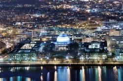 Nightime view of Cambridge, Massachusetts