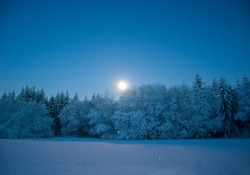 Nightly landscape with snow and moon (at Mt. Essigberg near Kassel, Germany)
