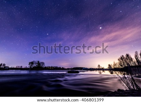 Nightly reflections by the river at springtime - Shutterstock ID 406801399
