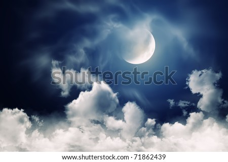 nightly sky with large moon - stock photo