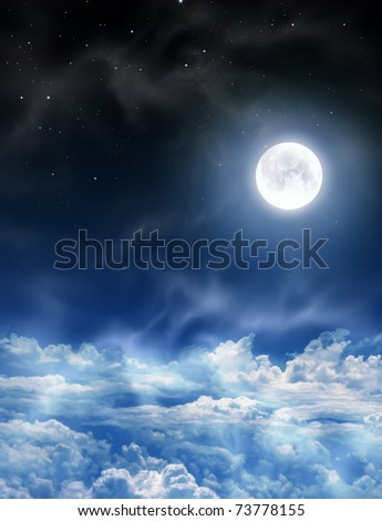 nightly sky with large moon