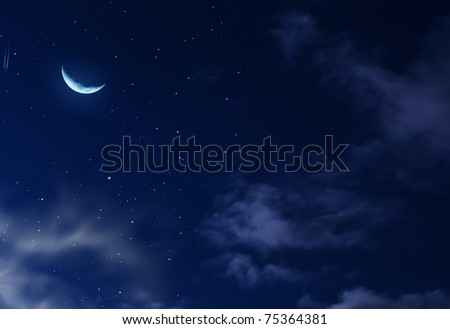 nightly sky with large moon #75364381