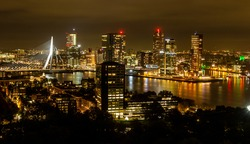 Nightly Skyline of Rotterdam as seen from the Euromast, the Netherlands