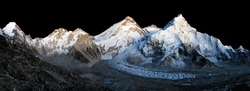 nightly view of Mount Everest isolated on night sky background, Lhotse and Nuptse from mount Pumo Ri base camp , Nepal Himalayas mountains