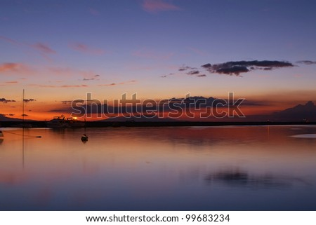 nightscape after the sunset at manila bay Philippines. - stock photo