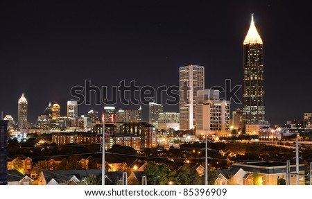 Nightscape of midtown Atlanta, Georgia, USA.