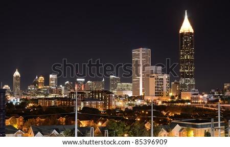 Nightscape of midtown Atlanta, Georgia, USA.