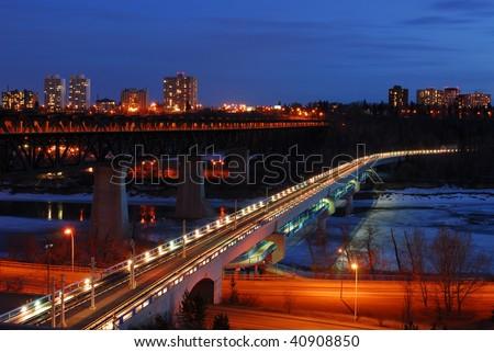 Nightshot of edmonton downtown, edmonton, alberta, canada
