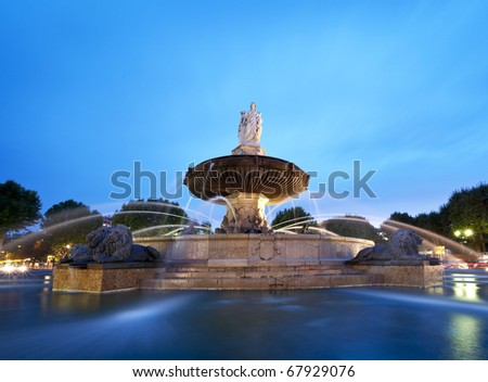Nightshot of La Rotonde fountain - The central roundabout in Aix-en-Provence, France.