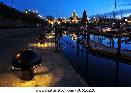Nightshot of the inner harbor and the parliament building, downtown victoria, british columbia, canada