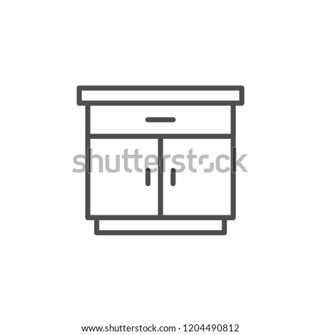 Nightstand line icon isolated on white