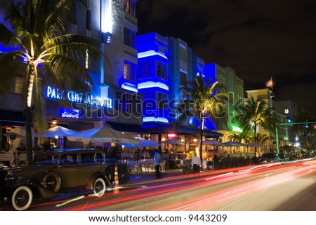 Nighttime in the famous art deco district of Ocean Drive in South Beach Miami Florida United States