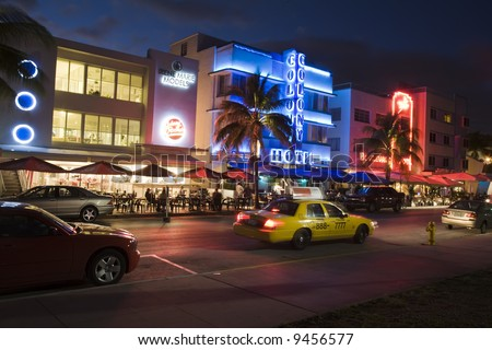 Nighttime in the famous art deco district of Ocean Drive in South Beach Miami Florida United States - stock photo