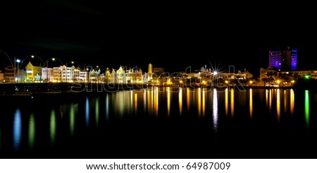 Nighttime panorama picture of Willemstad city, Curacao